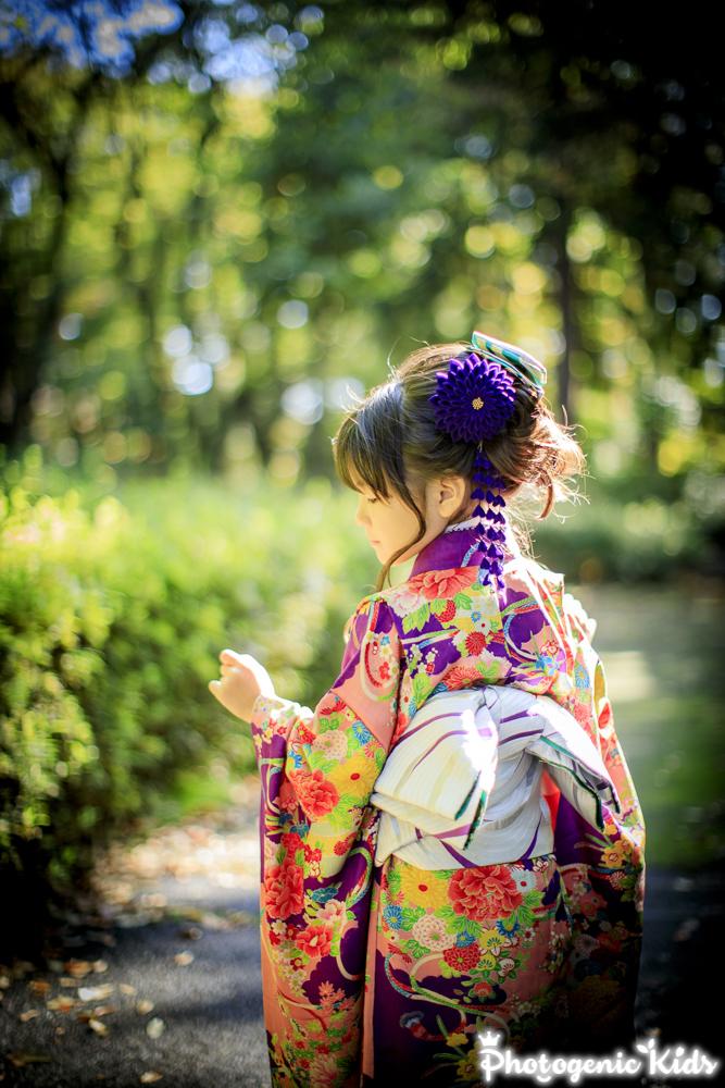 七五三出張撮影 立川 諏訪神社 アンティーク着物でお参り