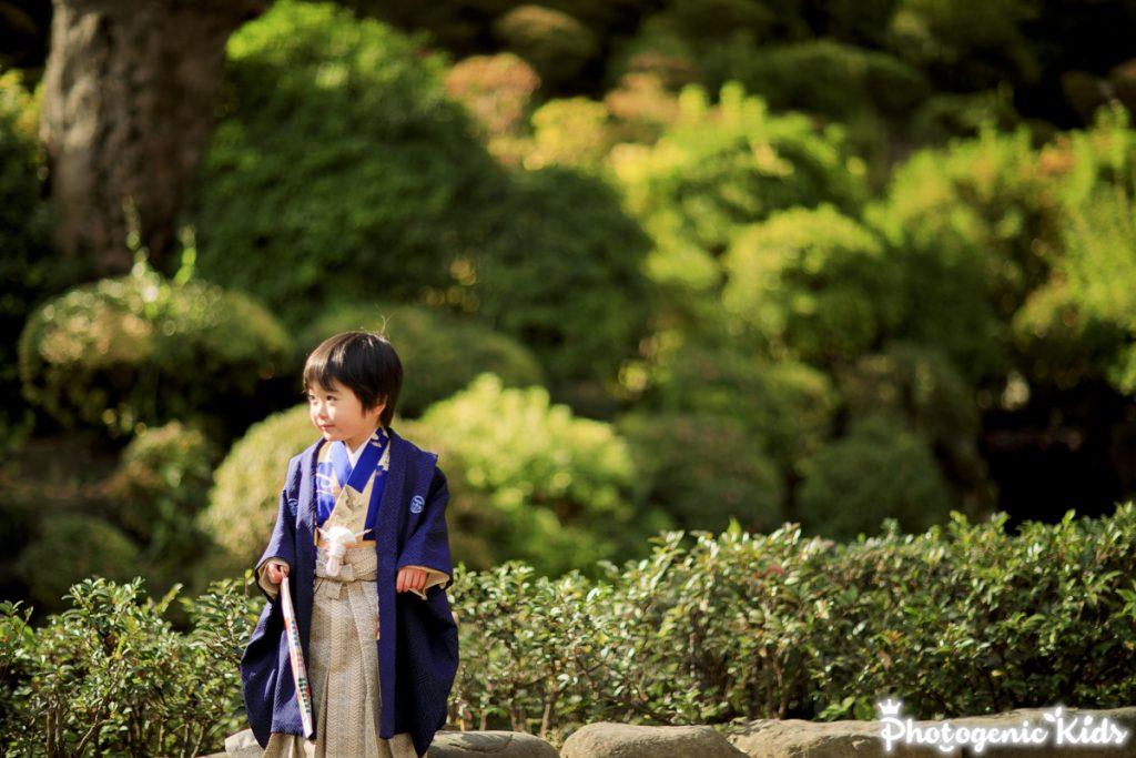根津神社で男の子アンティーク着物七五三出張撮影根津神社千本鳥居にて